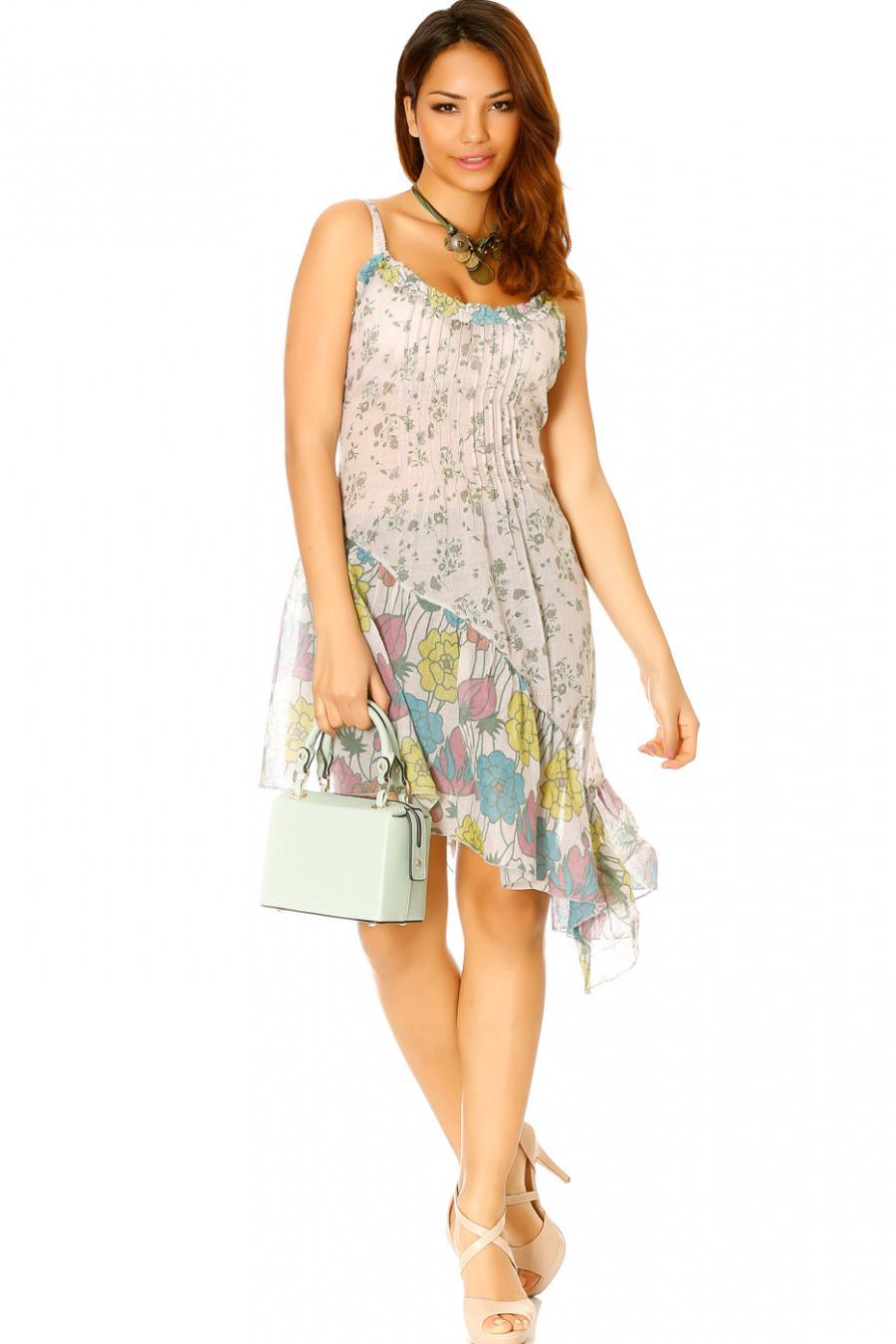 Robe asymétrique Grise à bretelles motif fleurs - D302