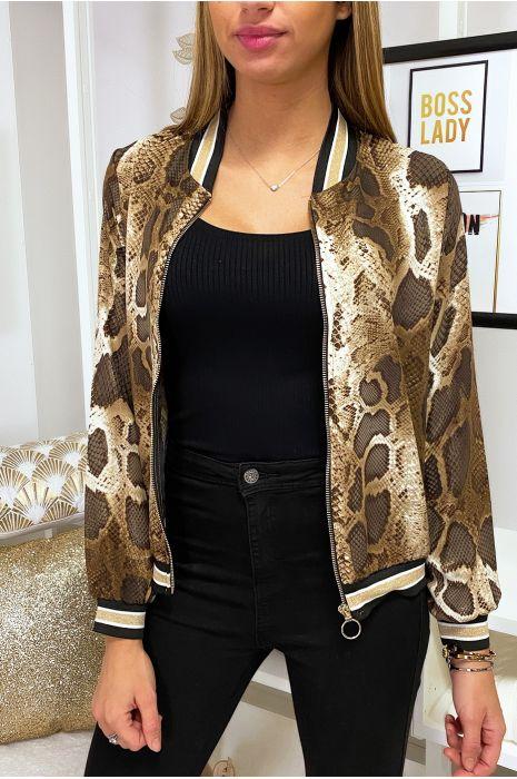 Petite veste marron motif python avec col et manches à bandes doré