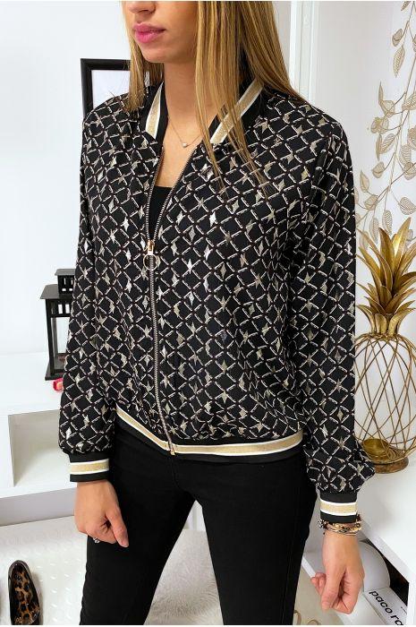 Petite veste noir à motif et touche doré avec col et manches à bandes doré