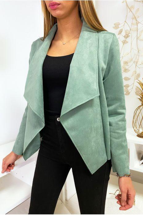Veste blazer vert en suédine à col revers