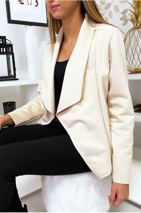 Veste blazer beige en suédine à col revers