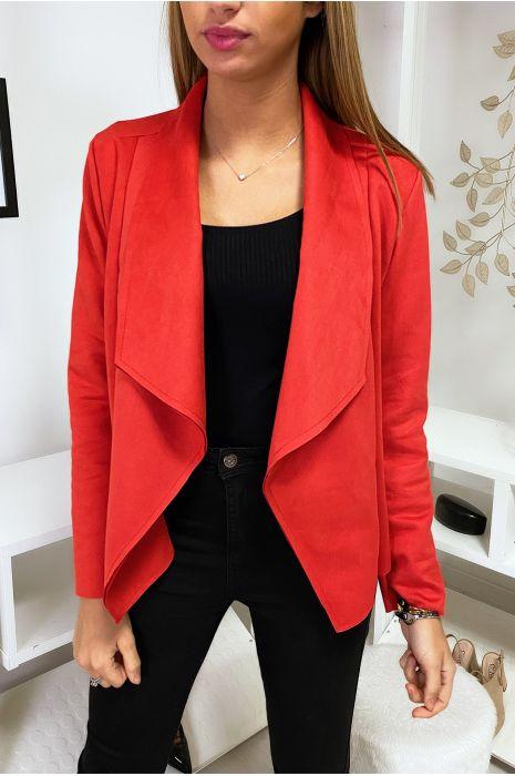 Veste blazer rouge en suédine à col revers