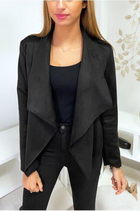 Veste blazer noir en suédine à col revers