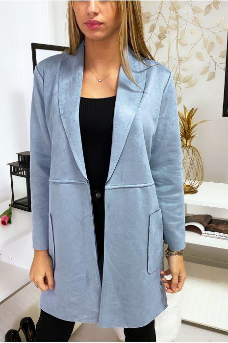 Veste blazer bleu en suédine à col revers