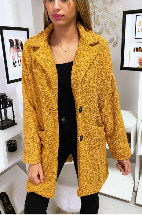Manteau mi long molletonné moutarde avec poches