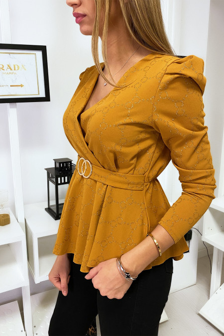 Mustard blouse with puff sleeve crossed at the front with buckle and gold pattern