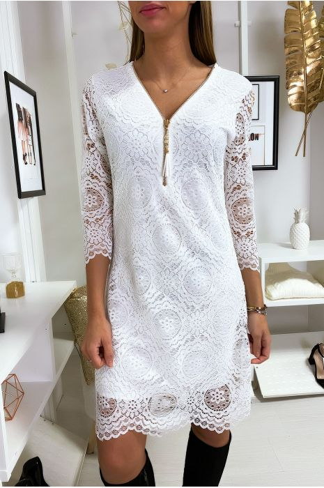 White Lace A Line Tunic Dress With Collar Closure