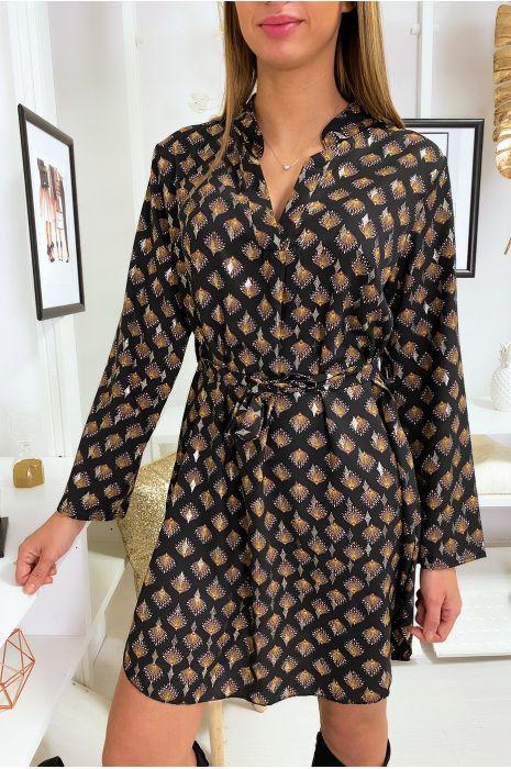 Robe tunique noir à motif avec col chemise et touches doré