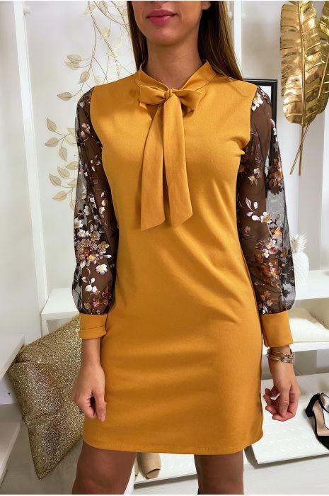 Robe tunique moutarde avec noeud au col manche en voile avec motif doré