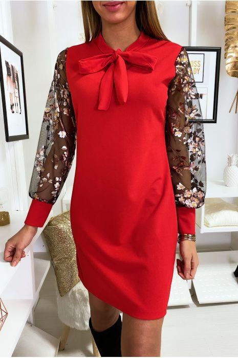 Robe tunique rouge avec noeud au col manche en voile avec motif doré