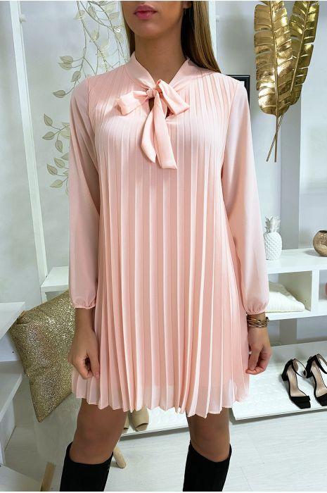 Robe tunique rose plissé et doublé avec noeud au col