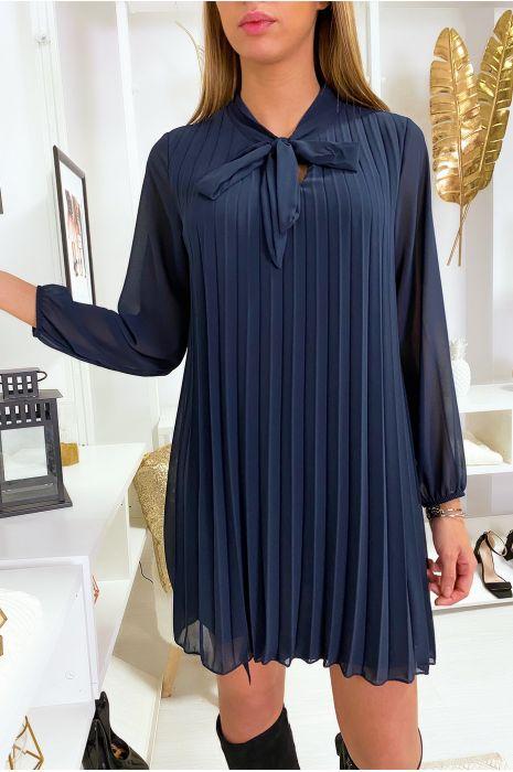 Robe tunique marine plissé et doublé avec noeud au col