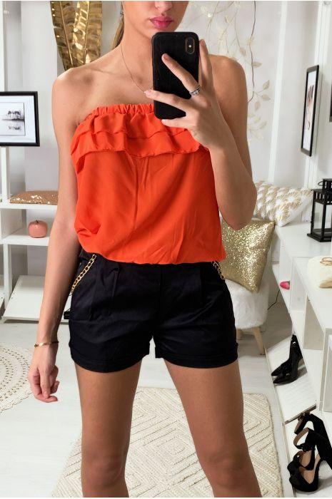 Combi-short Orange bi matière, haut bustier et bas à chaine aux poches.