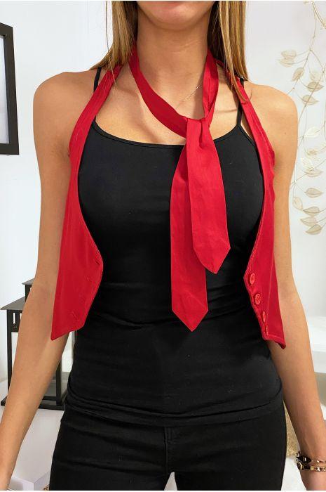 Rood barmanvest met stropdas