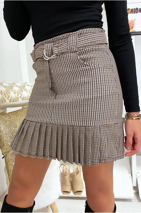 Jupe beige à motif avec ceinture et plissé