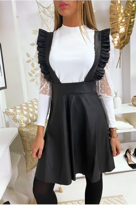 Robe courte a bretelle en similicuir noir