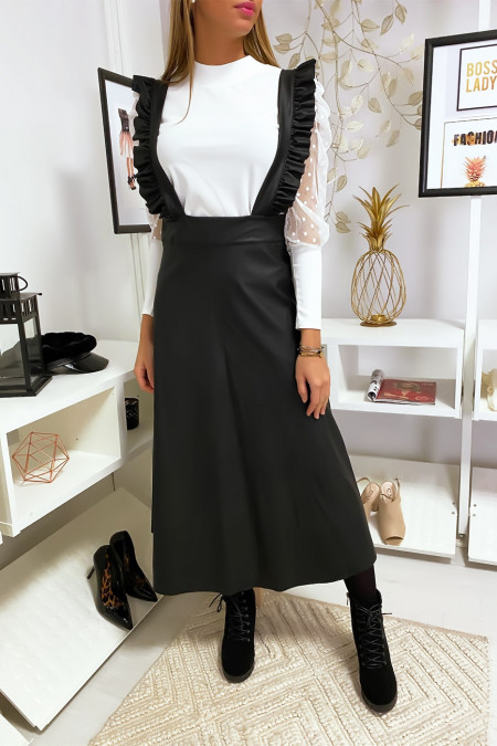Black faux leather long dress