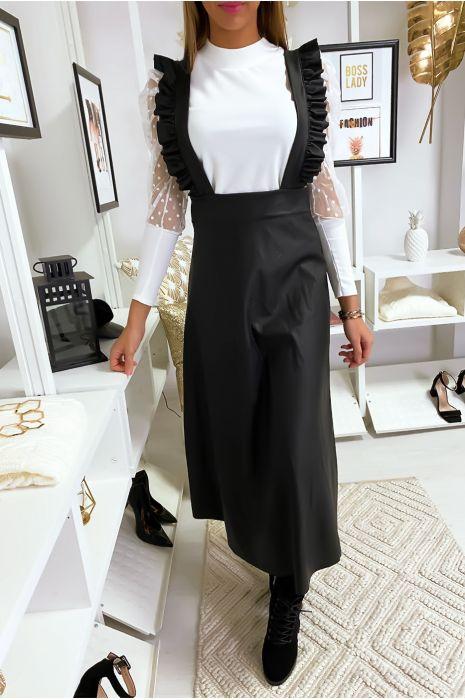 Robe longue a bretelle en similicuir noir