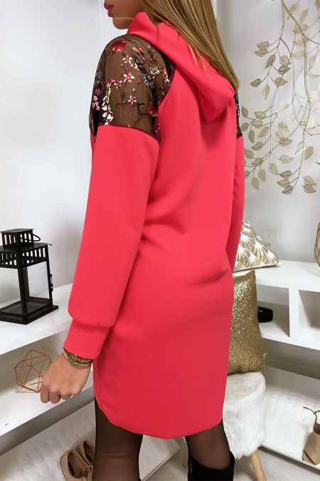 Coral dress with hood and floral sleeves in canvas