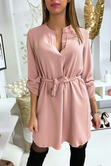 Pretty pink V-neck tunic dress with belt and cuffed sleeves