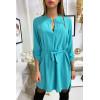 Jolie robe tunique turquoise col V avec ceinture et manches revers