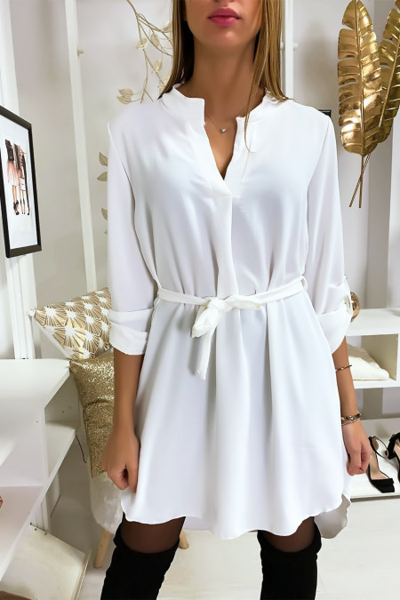Pretty white V-neck tunic dress with belt and cuffed sleeves