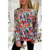 Veelkleurig sweatshirt voor dames met strippatroon
