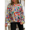 Sweat multicolor pour femme motif bande dessiné