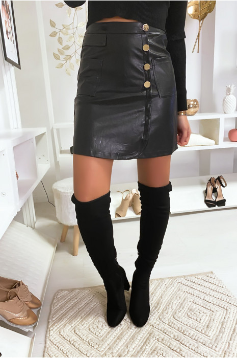 Jupe noir croisé avec poches et boutons en simili