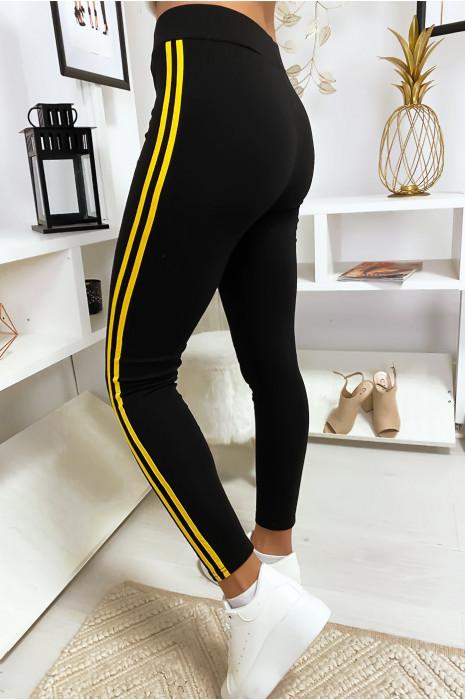 Leggings noir avec deux bandes jaune sur les cotés