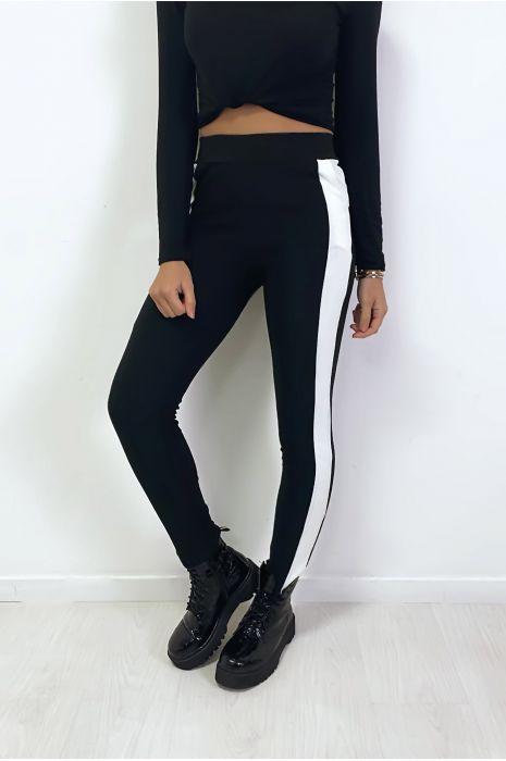 Jogging noir avec bande blanche et poche
