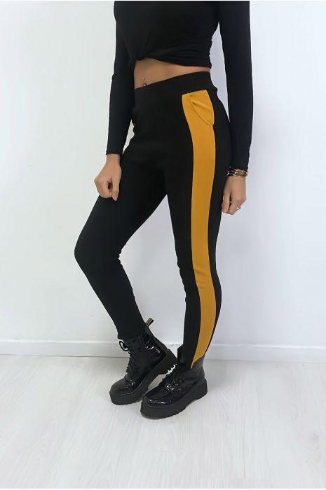 Jogging noir avec bande moutarde et poche