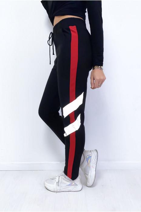Jogging noir avec bande rouge et brillante avec poches