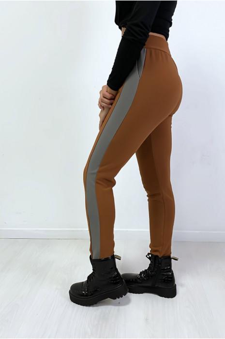 Jogging camel avec bande anthracite et poche