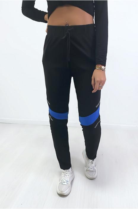 Jogging noir avec bande royal aux genoux