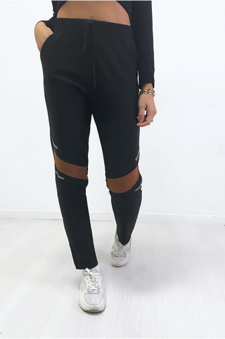 Jogging noir avec bandes camel aux genoux