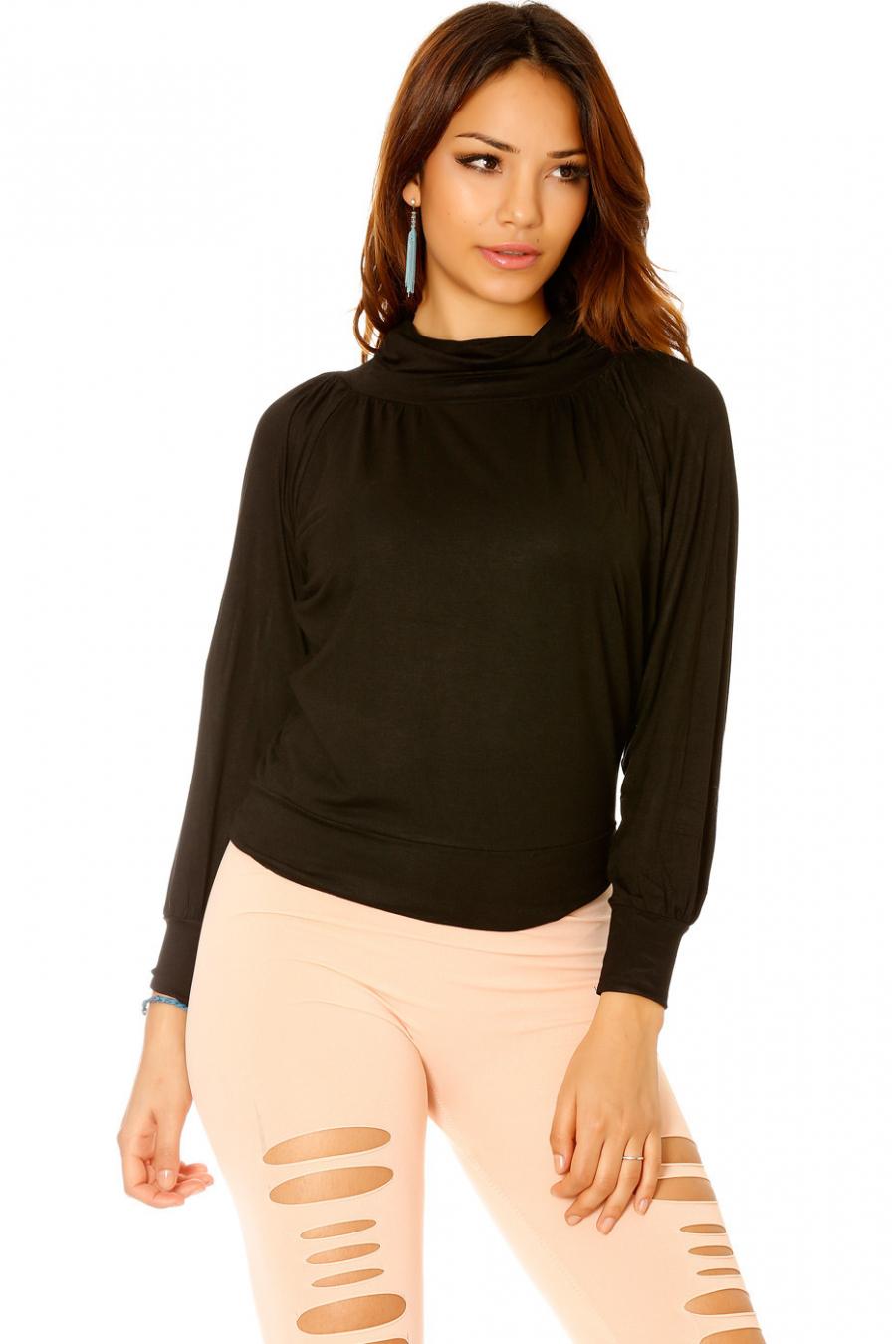 2ecf3e265b8 Pull Oversize Inspiration Mode Femme Petite Taille La P. Haut Manche Long Col  Roule En Noir Mode Femme Petit Prix