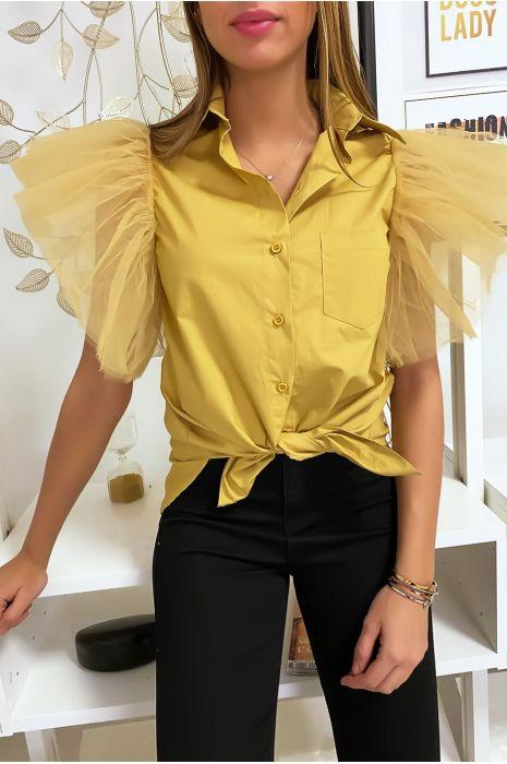Mosterdgeel overhemd met ruches op de schouders