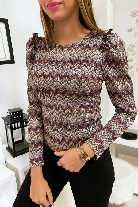 Top with burgundy pattern and shoulder details