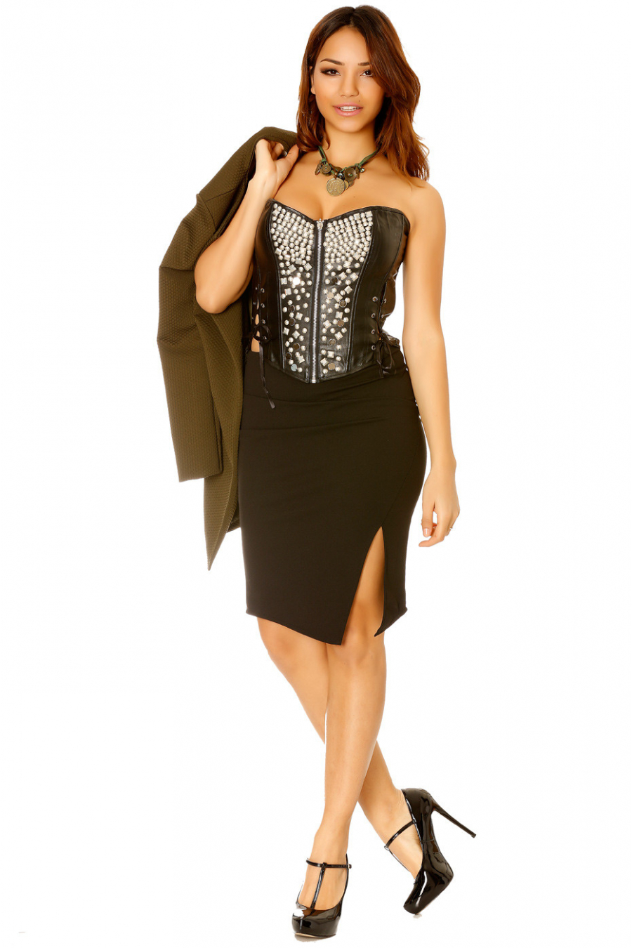 Black faux zipped bustier with rhinestones and lace. Fashion and sexy woman's bustier