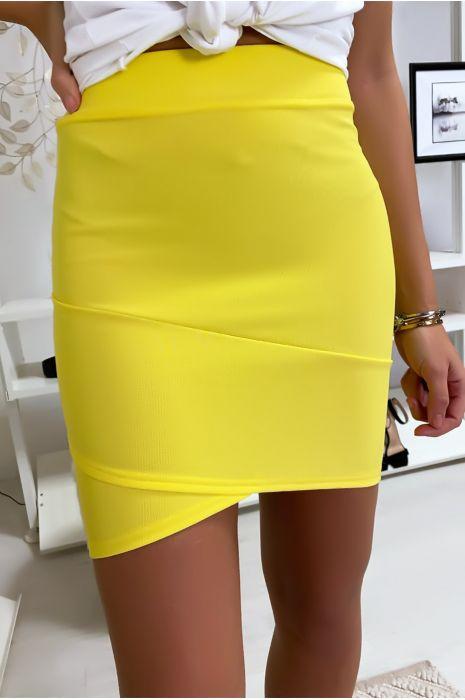 Jupe courte jaune fluo bandage