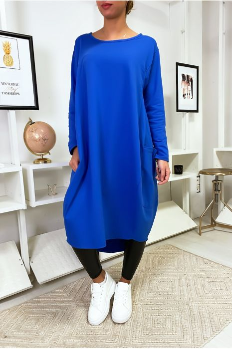Grande robe bleu royal à poches