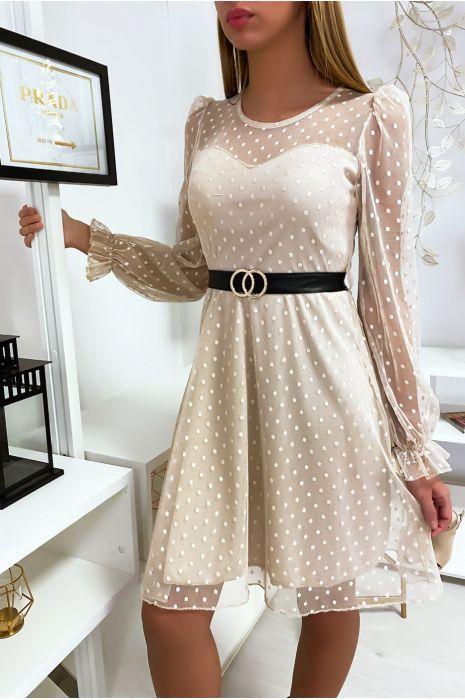 Beige Plumetis Dress With Belt