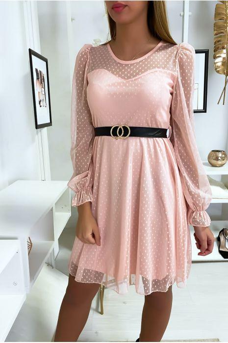 Robe rose plumetis avec ceinture
