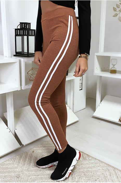 Legging cognac avec deux bandes blanches sur les cotés