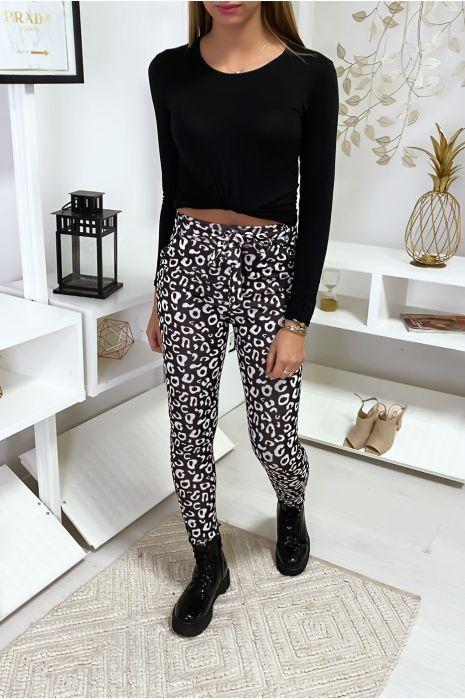 Legging noir à motif léopard blanc
