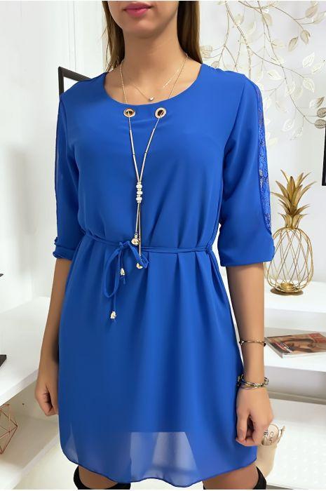 Robe tunique bleu royal fluide avec détail dentelle