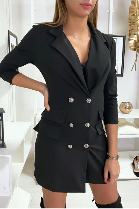 Robe Blazer Courte Noir Boutonnee