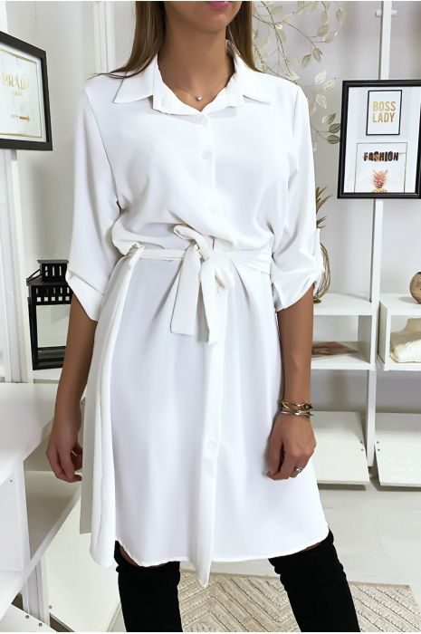 Robe Chemise Blanche Fluide Nouee A La Taille