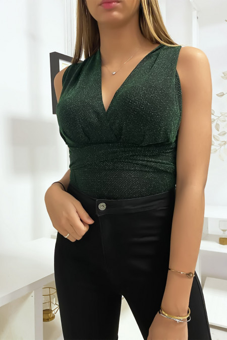 Crossed shiny green bodysuit with long tie